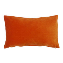 JITI - Small Orange Velvet Pillow - Who can resist a classic? With this velvet throw pillow, available in oodles of sizes and colors, you won't have to! Ideal for mixing and layering, go ahead and experiment. Change your look as often as you can move this one here, and that one there. Anywhere it lands, it's a perfect fit.