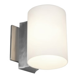 Access - Access 'Taboo' 1-light Brushed Steel Wall Sconce - Stylize your home with this single-light wall sconce, which features an elegant brushed steel finish. This sconce features opal glass that will help evenly distribute your light, adding to the ambiance in your home. It is excellent for a hallway.