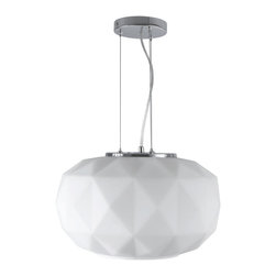 Glass Diamonds Pendant in White - Small - Artfully constructed from glass with a matte white finish, this pendant lamp screams modern sophistication in any indoor setting. Its geometric, multidimensional form elegantly contrasts its circular bottom opening that casts up to 60 watts of brilliance over your dining table, kitchen counter, or bedroom.