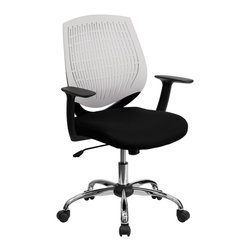 Flash Furniture - Flash Furniture Office Chairs Plastic Back Task Chairs X-GG-A-ETIHW-6X-FL - This contemporary Designer Back Office Chair features a perforated plastic back and will keep you cool and comfortable throughout the day. This chair features a back tilt lock and pneumatic seat lift. [LF-X6-WHITE-A-GG]
