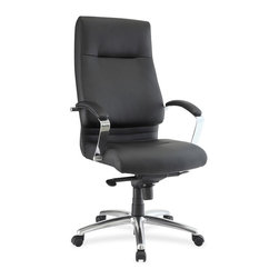 Lorell - Lorell Modern Exec. High-back Leather Chair - Leather Seat - Leather Black Back - Executive, high-back leather chair offers a modern, clean design with comfortable, built-in lumbar support. Chromed metal arms are equipped with leather pads for style and comfort. Functions include pneumatic seat-height adjustment from 18-1/4 to 21-1/4, 360-degree swivel, tilt, knee tilt, tilt tension and tilt lock. 27-3/5 diameter, polished aluminum, five-star base is equipped with 50mm hooded, dual-wheel casters with 38mm hoods for easy chair movement. Weight capacity is 250 lb. Seat measures 20-1/2 wide x 19 deep. Back size is 20 wide x 27-1/4 high. High-back chair meets or exceeds ANSI/BIFMA standards.