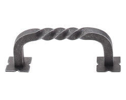 """Top Knobs - Twist D Pull w/Backplates 3"""" (c-c) - Pewter - Length - 3 5/16"""", Width - 7/16"""", Projection - 1 3/8"""", Center to Center - 3"""", Base Diameter - 5/16"""""""