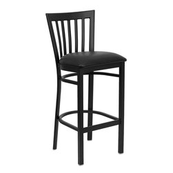 Flash Furniture - Hercules Series Black School House Back Metal Restaurant Bar Stool Black Seat - This heavy duty commercial metal bar stool is ideal for Restaurants, Hotels, Bars, Pool Halls, Lounges, and in the Home. The lightweight design of the stool makes it easy to move around. The tubular foot rest not only supports your feet, but acts as an additional reinforcement that helps secure the legs. This stool will keep you comfortable with the easy to clean vinyl upholstered seat. You will not regret the purchase of this bar stool that is sure to complement any environment to fill the void in your decor.