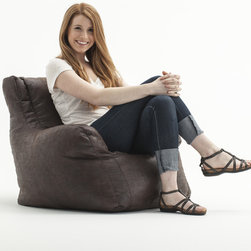 Comfort Research - BeanSack Big Joe Lusso Faux Leather Bean Bag Chair - This shaped BeanSack Big Joe Lusso chair has a faux leather cover and is filled with long-lasting polystyrene beans. The back and arm rests provide soft but firm support making this chair perfect for any room.