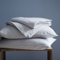 Flannel Sheet Set, Graphite Pinstripe, Twin - When the weather starts to get cooler, I love crawling into cozy flannel sheets. These light gray ones are simple enough to go with almost any bedding.