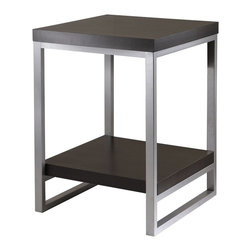 """Winsome Wood - Winsome Wood Jared Accent Table X-81439 - Jared line of contemporary occasional tables is made with pewter color enamel finished metal tube frames and melamine/hallow tops.  The End Table has an overall assembled dimension is 18.03""""W x 18.03""""D x 24.49""""H.  Lower shelf has surface area of 16.30""""W x 17.80""""D.  Clearance of 15.55"""" from shelf to underneath table top.  Assembly Required."""