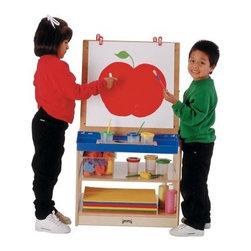 Jonti-Craft 2 Station Childrens Easel - The Jonti-Craft 2 Station Easel provides ample storage space below and between easels. The frame is constructed of sturdy solid hardwood for lasting use. This easel features a removable tabletop and hardboard easel panels while the dual stations let two children draw at the same time. Optional Chalkboard Write-n-Wipe and Acrylic panels also available (when available; see the Accessories section to purchase). Clips and paint trays are included. Minimal assembly required. About Jonti-CraftFamily-owned and -operated out of Wabasso Minn. Jonti-Craft is a leading provider of quality furniture for the early learning market. It offers a wide selection of creatively designed products in both wood and laminate materials. Its products are packed with features that make them safe functional and affordable. Jonti-Craft products are built using the strongest construction techniques available to ensure that your furniture purchase will last a lifetime.
