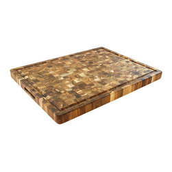 "Proteak - Proteak End Grain Rectangle Board With Handles and Juice Groove 24 x 18 x 1.5 - Make a statement with this 24"" x 18"" x 1.5""."