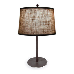 Mathews & Company - Wrought Iron Preston Table Lamp - Our Contemporary style wrought iron Preston Table Lamp is a beautiful piece of hand-crafted home furniture. Lamp is UL Approved and pre-wired, all you have to do is add a light bulb and plug it in to start enjoying its warm light. Pictured in Burlap shade and Black finish.