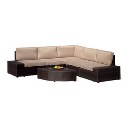 Great Deal Furniture - Reddington Outdoor Wicker Sectional Seating Set - Never again stress about having your guests sit comfortably outside. With this large outdoor sofa sectional set, you will always have plenty of comfortable seats for your friends and family to lounge and relax. Place this in your backyard, patio or around your pool.