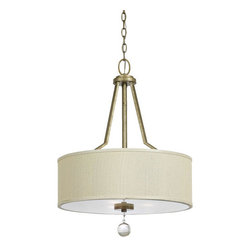 Yosemite Home Decor - Lewisia Golden Dew Three-Light Pendant Light - - UL-rated  - Golden dew frame with cream linen shade  - Built to last metal with fabric construction  - Can be installed in your bar, gathering area, dining area, romantize a bedroom, and even as a room separator or for zoning  - Overall dimensions: 23.75 H x 20 W x 20 D  - 1 year warranty on parts - see packaging for details  - Bulbs not included Yosemite Home Decor - TWC5474P-3GD