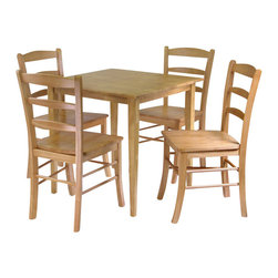 Winsome - Winsome Groveland Square 5 Piece Square Dining Set in Light Oak - Winsome - Dinette Sets - 34530 - Simple relaxed and straight-forward describe this Shaker-style dining table. The casual design will go with many styles of decor and will easily accommodate up to four chairs.