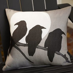 "Crow & Moon Outdoor Pillow, 20"" - A murder of crows cuts a classic silhouette on our pillow's weather-resistant fabric. 20"" square Woven of polyester. Spot clean. Made in America of imported materials. Internet only."