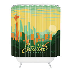 DENY Designs - Anderson Design Group Seattle Shower Curtain - Who says bathrooms can't be fun? To get the most bang for your buck, start with an artistic, inventive shower curtain. We've got endless options that will really make your bathroom pop. Heck, your guests may start spending a little extra time in there because of it!