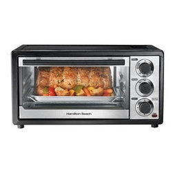 Hamilton Beach - Six Slice Toaster Oven - This Hamilton Beach Six Slice capacity Toaster Oven is great for everyday meals or as a second oven for the holidays. Settings include: bake, broil and toast. It has a timer with auto shutoff and a slide-out crumb tray. Bake pan and broil grid are included.