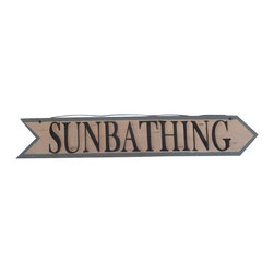 """Handcrafted Model Ships - Wooden Sunbathing Arrow Sign 33"""" - Beach House Sign - Our Wooden Sunbathing Arrow Sign 33 inch is the perfect choice to display your affinity for decorating a beach house. Place this sign in a beach kitchen, use as a coastal decorating idea, or hang this up as part of your beach bedroom decor. Given all the options, one thing is for certain, you are sure to inject the beach lifestyle into your humble abode."""