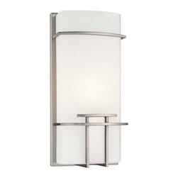 """George Kovacs - George Kovacs Modern Mission 13 1/2"""" High ADA Wall Sconce - The look of this wall sconce recalls Mission style design reimagined with sleek modern touches. A sculpted diffuser of etched opal glass is neatly trimmed by a brushed nickel finish frame. This George Kovacs sconce design complies with ADA specifications. Takes one 60 watt bulb (not included). 13 1/2"""" high. 6"""" wide. Extends 4"""" from the wall.  Brushed nickel finish.  Etched opal glass.  ADA compliant wall sconce.  From the George Kovacs wall sconce collection.  Takes one 60 watt bulb (not included).  13 1/2"""" high.  6"""" wide.  Extends 4"""" from the wall."""