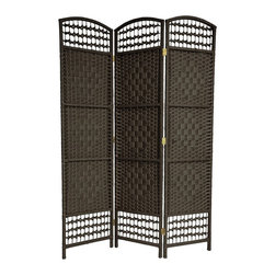 Oriental Unlimited - 5.5 ft. Tall Fiber Weave Room Divider (3 Pane - Color: 3 Panels / BlackTriple diamond medallion design with open top & bottom. Crafted from lightweight wood framing & spun plant fiber cord. Hardy design with extra 3 horizontal reinforcements. 3-Panels. Shown in Black. 15.5 in. W x 0.75 in. D x 67 in. H (per panel)This is an exotic and attractive decorative room divider, crafted from wood frames and spun plant fiber cord. The plant fiber cord takes colored dye beautifully, and is interwoven with quarter inch wood dowels to create a pattern similar to classic rattan folding screens. The wood is light weight, with 3 extra horizontal members reinforcing the frame, creating a light, durable floor screen.