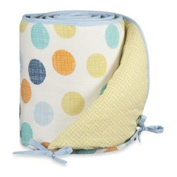 Living Textiles - Lolli Living by Living Textiles Baby Crib Bumper in Bot Dot/Labyrinth Green - This adorable, reversible bumper coordinates perfectly with the Baby Bot Crib Bedding Collection. One side sports the Bot Dot print and the other side features the Labyrinth Green print.