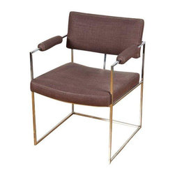 Used Milo Baughman Dining Chairs - Set of 6 - A set of six circa 1970s Milo Baughman for Thayer Coggin dining chairs. The chairs feature chrome bases and light grey fabric. There is some light oxidizing and signs of use, but they are overall in good vintage condition.