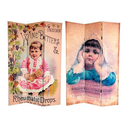Oriental Furniture - 6 ft. Tall Double Sided Vintage Children Canvas Room Divider - These two endearing, vintage commercial graphic art prints are sure to capture your heart. On the front is a label for  Indian Wine Bitters Rheumatic Drops , featuring the lovely painting of a toddler in period dress, filigreed by an elaborate grape vine border. The back is an equally charming lithographic print of a plump, smiling child advertising  Hood's Tooth Powder . These unique, lovely vintage graphic art prints provide you with soft, serene design elements for your living room, bedroom, dining room, or kitchen. This three panel screen has different images on each side, as shown.