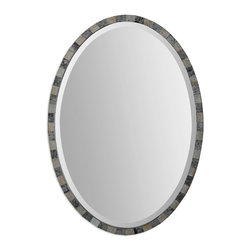 Uttermost - Paredes Oval Mosaic Mirror - Mirrors within mirrors is an apt description of this beautiful antiqued mirror. You will see the entire frame is constructed of light and dark mirrors carefully pieced together to encircle the beveled inner mirror. In your entryway, this can be hung vertically or horizontally over a dramatic console table.