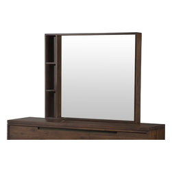 Modus Furniture International - Portland Solid Wood Mirror - Transitional in design but modern in appearance, the Portland collection adds subtle details and heavy solid wood construction to a Bauhaus-like form.  A combination of mid-century and Asian styles, each piece sits atop a recessed base with thick splayed legs.  Asymmetrical, integrated drawer pulls are cut in a rounded rectangle shape and accented with oil rubbed bronze metal backings.  A double top balances the weight of the base, giving each piece a substantial look.  The platform bed creates depth with a shelter-style head and footboard, gently canted to mirror its angled legs.