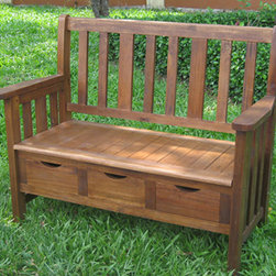 3-drawer Large Acacia Bench with Arms - This bench looks like an antique. Not only does it have a traditional form but also has convenient drawers underneath. It's a great bench to sit by your back door so you can take off your garden clogs and gloves and stow them away.