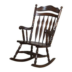 Adarn Inc - Transitional Rocking Chair in Walnut Finish Rocker - This transitional rocking chair is both classic and modern, a great piece to complement all different types of home decor. The chair has a classic curved headboard and slat back, with pretty spindle turned arm and base supports. The deep seat of this rocking chair will help you relax along with the soothing rocking motion. The chair is finished in a rich Walnut color.