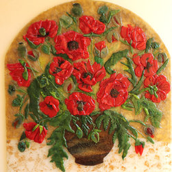Arched Glass Mosaic Panel Red Poppies in a vase. - Red Poppies fused glass arched panel.