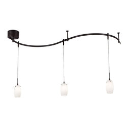 George Kovacs - George Kovacs P8003-1-467 Low Voltage Halogen 3 Light Pendant Monorail Track - Sable Bronze Patina Finish