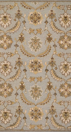 """Loloi Rugs - Loloi Rugs Ashford Collection - Light Blue / Multi, 7'-6"""" x 9'-6"""" - A classic beauty re-imagined for today, hand-tufted Ashford harnesses the timeless elegance of historically rich floral rug patterns, but updates them with an incredibly calming palette. The loop and pile texture adds depth and visual interest to these rugs, which are handmade in India of 100% wool."""