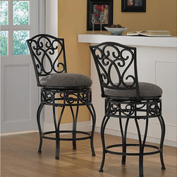 None - Chase 24-inch Swivel Counter Stools (Set of 2) - Comfortable and supportive, these padded wrought iron counter stools are equipped with a 360-degree swivel. Ideal for the kitchen and great in the bar, these classic stools invite friendly conversation and long, leisurely relaxation.