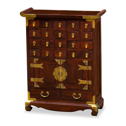 China Furniture and Arts - Korean Medicine Chest - This multi-drawer chest was originally used by the Korean court apothecaries for storing the curatives needed for the health of the royal household. Crafted of Elmwood by artisans in China, this 20-compartment cabinet will be especially useful for organizing assorted small items. Hand applied dark walnut finish.