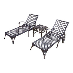 Oakland Living - 3-Pc Outdoor Chaise Lounge Set - This Chaise lounger set will be a beautiful addition to your patio, balcony or outdoor entertainment area. Our Chaise lounger sets are perfect for any small space, or to accent a larger space. We recommend that the products be covered to protect them when not in use. To preserve the beauty and finish of the metal products, we recommend applying an epoxy clear coat once a year. However, because of the nature of iron it will eventually rust when exposed to the elements. The Oakland Elite Collection combines old world charm and modern designs giving you a rich addition to any outdoor setting. The traditional lattice pattern is crisp and stylish. Each piece is hand cast and finished for the highest quality possible.