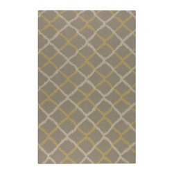 Uttermost - Uttermost Harrington 8 x 10 Rug - Gray 71022-8 - Woven Light Gray Wool With A Gold And Cream Ikat Design.