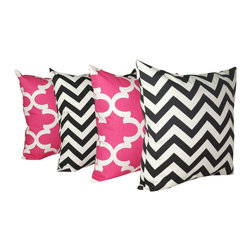 Land of Pillows - Premier Prints Fynn Candy Pink and Chevron Zig Zag Black Throw Pillows - 4 Pack, - Fabric Designer - Premier Prints