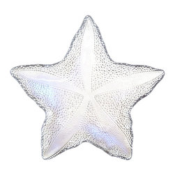 "Traders and Company - Hand-Painted Large Clear Starfish Embossed Glass Dish w/ Luster Finish, 10.5""D - Coastal style with casual elegance. Our hand-painted glass sea star dishes in oceanic hues will bring that beach and marina charm to your decor. Food safe, and can also be used at your next picnic or dinner party for a nautical theme. Alternate shapes & styles sold separately. Hand wash only; not for use in dishwasher, microwave, or oven."