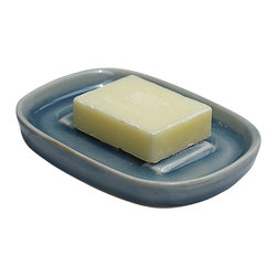 bailanmu - Blue Celadon Soap Dish - Small yet purposeful. Soft, blue tone with cracked texture to enhance the bathroom for everyday use.