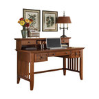 Home Styles - Home Styles Arts and Crafts Executive Desk and Hutch - Home Styles - Executive Desks - 5180152 - Mission Styling at its best! The Arts and Crafts Executive Desk embellishes typical mission styling with framed doors showcasing raised wood, lattice moldings and slightly flared legs. The drop-front center drawer can also be used as a keyboard tray with two additional storage drawers on each side. The hutch provides cable access and additional storage with two storage drawers and a center storage shelf. Construction is of oak solids and oak veneers in a warm, multi-step Cottage Oak finish with Black finished hardware. Two piece set includes the desk and hutch.