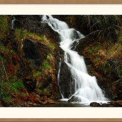 Amanti Art - Mountain Waterfall Framed Print by Andy Magee - Lush emerald mosses revel within nourishing mists. The flourish and freedom of summer are epitomized in this charming waterfall portrait by photographer Andy Magee.
