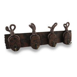 Zeckos - Wooden Distressed Pulley and Rope Hanging Wall Hook Rack - Adding a cool nautical accent to your walls and your home is easy with this nautical pulley and rope wall hook rack Featuring a highly distressed hand-painted finish and natural rope accents, this wooden rack is great for hanging lighter items such as jackets, hats, keys or even belts in a closet from the metal hooks. Measuring 17.25 inches (44 cm) long, 3.75 inches (10 cm) high, 2.75 inches (7 cm) deep, and with two sawtooth hangers on the back for easy mounting, it's a fun accent on any wall inside your home, garage, man cave or a cabana, and it's sure to receive rave reviews
