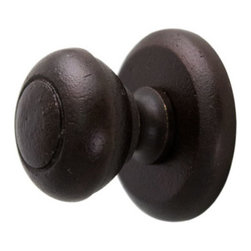 Solid Bronze Traditional Knob with Round Base Plate - Crafted of solid bronze, the traditional style of this knob is evident in its round shape and simple face design. Complete with a round base plate. A perfect addition to your antique furniture.