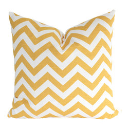 The Pillow Studio - Sunny Yellow Chevron Pillow Cover - These sunny yellow chevron makes me smile every time; I just couldn't resist using this fabric to make a pillow.