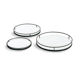 Maya Trays - Set of 3 - Easy to nest for storage and beautifully proportioned, the Maya Trays are a trio of mirrored beauties ideal for organizing a bar or bath counter, each bordered by a gallery rail of hammered dark iron.  The contrast between concentrated light and shadowy metal makes these trays a distinctive choice for styling a low-profile vignette or a delectable appetizer display.