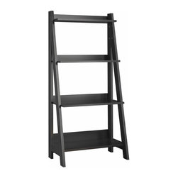 Bush - Bush Alamosa 4-Shelf Ladder Bookcase in Black - Bush - Bookcases - MY7271603 - The Alamosa Ladder bookcase by Bush Furniture is perfect for your small space. The sleek modern bookcase offers four shelves and comes in a classic black finish.