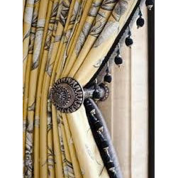 Fringe Curtains & Draperies of Indianapolis- Custom Styles at Affordable Prices - This is a picture of our pleated curtains that have fringe.  We love the have the fringe hangs when you use a tie back.  We can create any style and pleat that you want!