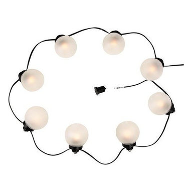 8-Light Outdoor Globe String Light - Set the perfect mood with this set of string lights.The textured white and frosted glass globes create the ideal lighting for your next get-together.
