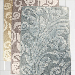 Trump Bedminster Scroll Bath Mat - Add an aristocratic touch to your décor with these 100% cotton bath rugs. Heavenly soft, yet sturdy and durable. Our distinctive color pallet offers a variety of choices to complement your decor. Designed by Trump for Kassatex.