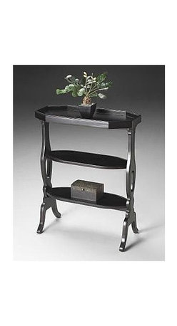 Butler - Accent Table w 3 Display Shelves in Plum Blac - Lightly textured hand painted finish on selected solid woods and choice cherry veneers. Cherry veneer top, middle and lower shelves. Plum Black finish. 22 in. W x 10 in. D x 28 in. H